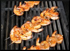 Shrimp Skewers Being Grill-Smoked