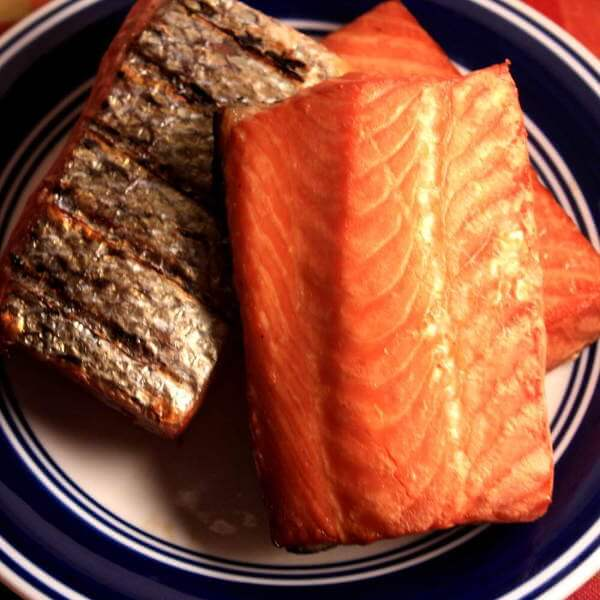 Smoked Atlantic Salmon Fillets, On Blue Bordered Serving Plate