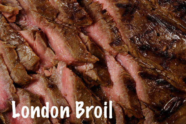 Beef London Broil, Sliced On Serving Platter