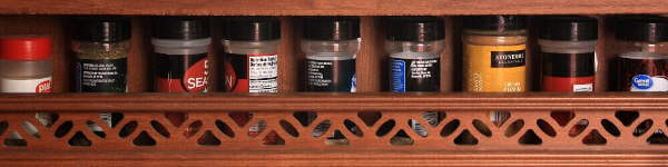 A Small Assortment of Spices and Herbs For my Smoker Recipes, In My Travel Trailer Spice Rack
