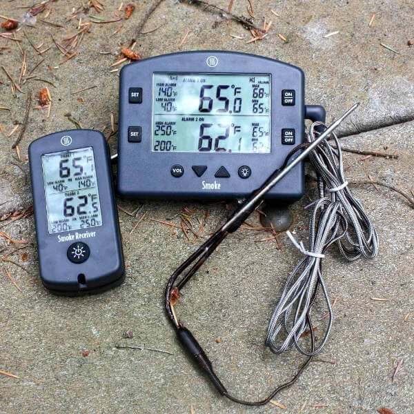 A ThermoWorks Smoke Dual Probe Thermometer On a Picnic Table