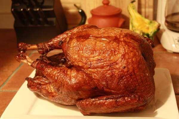 Smoked Whole Turkey On Kitchen Counter