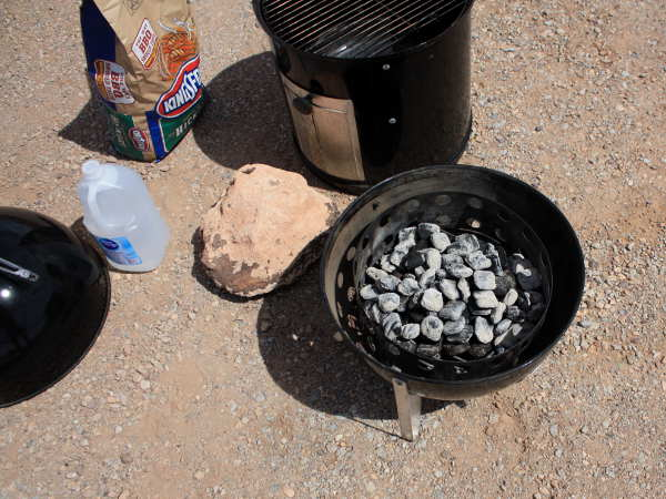 Weber Smoky Mountain, Bag of Charcoal, Briquettes Lit In Fire Ring