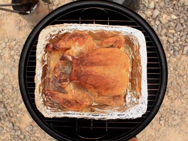 Smoking a Whole Chicken In a Pan, Weber Smoker
