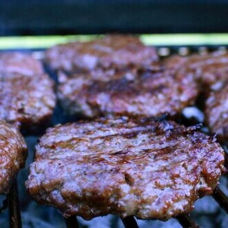 Smoked Cheeseburgers On Smoker Grate, Before Cheese Was Added
