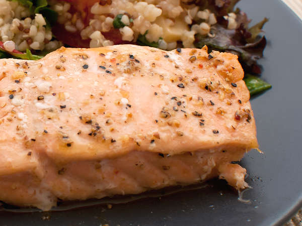 Beautifully Grilled Salmon Fillet With Mixed Grains
