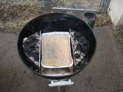 Drip Pan Set Up For Grilling Turkey Parts