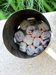Charcoal In Charcoal Chimney, Ready to Use