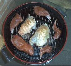 Smoking Pheasant and Rabbit In a Brinkmann Vertical Electric Water Smoker
