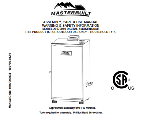 Picture of Masterbuilt Smoker Manual Cover