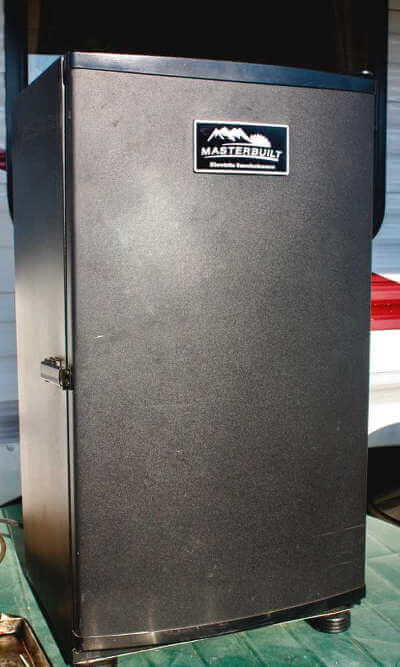 Masterbuilt Digital Electric Smoker In Front of My Travel Trailer