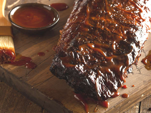Homemade Captain Morgan Barbecue Sauce Recipe, Brushed Onto Baby Back Ribs.