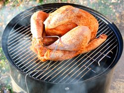 Brined, Rubbed and Trussed Turkey On My Weber Smoky Mountain Cooker Smoker