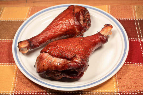 Two Luscious Smoked Turkey Legs On My Dinner Plate