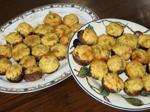 Grill Smoked Stuffed Mushrooms on Platters