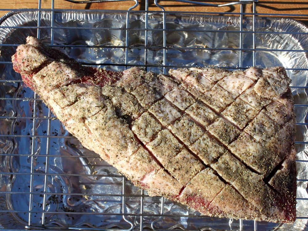 Seasoned Beef Roast, Fat Cap Scored In Criss-Cross Pattern