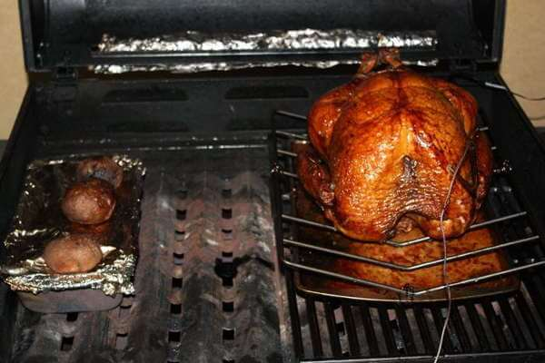Gas Grilled Whole Turkey Cooked Using The Grill Smoking Method