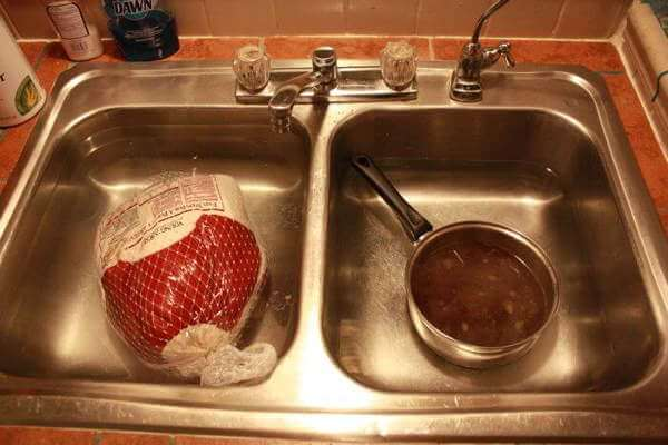 Turkey Thawing in Water, and Simmered Brine Ingredients Cooling