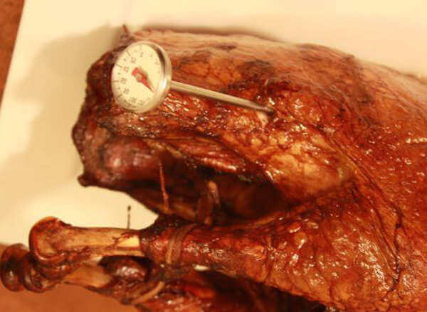 Smoked Turkey With Analog Meat Thermometer Probe Inserted Into Thigh